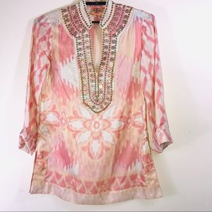 Tory Burch silk beaded tunic size 8